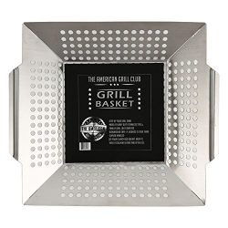 The American Grill Club Grilling Basket – Large Portable Indoor Outdoor Stainless Steel BB ...