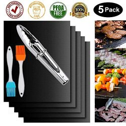 Garcent Non-Stick BBQ Grill Mat Set of 5, Barbeque Accessories Charcoal, Gas, Electric Grill, Re ...
