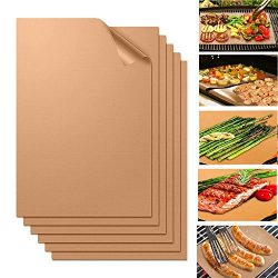 Niceshop BBQ Grill Mat, Set of 6-100% Non-stick and Heat Resistant BBQ Grill & Baking Mats U ...