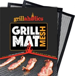 Grillaholics BBQ Mesh Grill Mat – Set of 2 Grill Mats Non Stick – Nonstick Grilling  ...