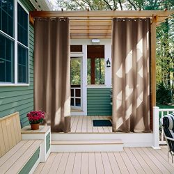 NICETOWN Outdoor Curtain Panel for Patio – Thermal Insulated Grommet Blackout Indoor Outdo ...