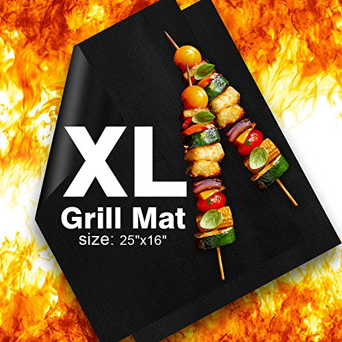 Delamu BBQ Grill Mat, XL Grill Mats Non Stick, 25″x16″, 0.3mm, Set of 2 Heavy Duty,  ...