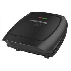 George Foreman 4-Serving Classic Plate Electric Indoor Grill and Panini Press, Black + Sponges
