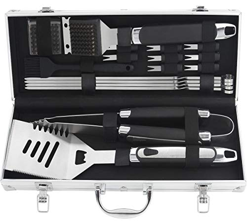 Grilljoy 18pcs BBQ Grill Accessories Set – Heavy Duty Stainless Steel Barbecue Grilling Ut ...