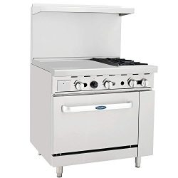 CookRite ATO-24G2B Natural Gas Range 2 Burner Hotplates With 24″ Manual Commercial Griddle ...
