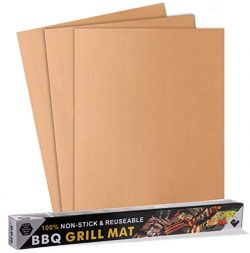 FEIBIAO Copper Grill Mat and Bake Mat(Set of 3),100% Non-Stick, Durable, Washable, Reusable and  ...