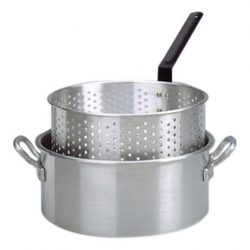 10 Qt. Aluminum Deep Fryer with 2 Riveted Handle and Punched Aluminum Basket with Heat Resistant ...