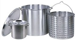 Professional Grade 80 Quart All Purpose Boiling Pot with Basket (3pc) plus a Bonus 12 Quart Stoc ...