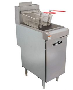 JET JFF3-40N Stainless Steel Commercial Heavy Duty Floor Gas Deep Fryer 90000 BTU Per Hour Adjus ...