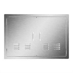 CO-Z Stainless Steel Access Door, 304 Brushed SS Double BBQ Doors with Vents for Outdoor Kitchen ...