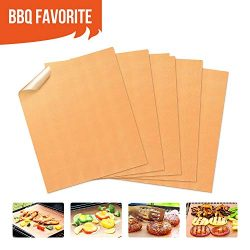 Copper Grill Mats Non Stick BBQ Grill Mat & Bake Mat Set of 5 for Barbecue Grilling & Ba ...