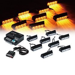 Xprite G1 Series Yellow Amber 4 LED 4 W 8 Heads 32 LED Hide A Way Emergency Vehicle Strobe Warni ...
