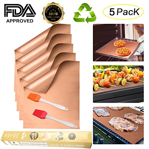 ALLIMITY Grill Mat Set of 5 Heavy Duty BBQ Grill Mats, Non Stick, Reusable, and Easy to Clean Ba ...