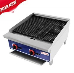 Commercial Countertop Radiant CharBroiler – KITMA 24 Inches Natural Gas Char Broiler with  ...