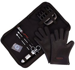 TeiKis BBQ Set [1x BBQ Gloves, 1x Bear Paws Meat Handler, 1x Seasoning Injector Grilling, 1x Cas ...