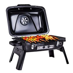 Pinty Portable Folding Charcoal Grill Carbon Steel Tabletop BBQ Grill for Outdoor Use, 250 Squar ...