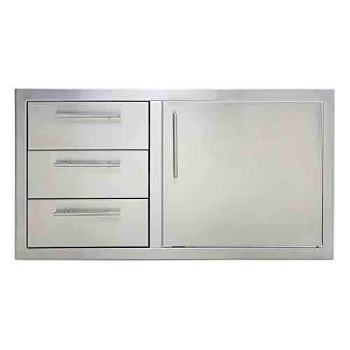 Odthelda Outdoor Barbecue Cabinet Door 304 Grade Stainless no Sharp Door/Triple Drawer Combo wid ...