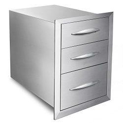 Mophorn 18″x23″ Outdoor Kitchen Drawer Stainless Steel BBQ Storage with Chrome Handl ...