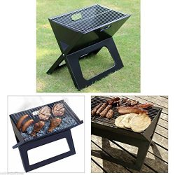 Steel Folding Compact Portable Charcoal BBQ Grill Outdoor Camping Cooker Smoker