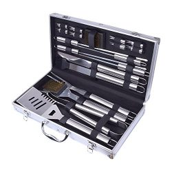 Home-Man 19-Piece BBQ Grill Tools Set-Barbecue Accessories with Aluminium Case-Professional Grad ...