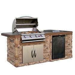 Cal Flame Outdoor Kitchen Island LBK-710-AS with 4-Burner Built in Grill, 30″ Double Acces ...