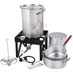 Backyard Pro 30 Qt. Deluxe Aluminum Turkey Fryer Kit/Steamer Kit – 55,000 BTU + Many Acces ...