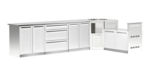 4 Life Outdoor W40090 Outdoor Kitchen Cabinet, 5-Piece Set (170″ x 35″ x 23.5″ ...