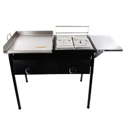 Lodhi's Heavy Duty Taco Cart Two Tank Double Deep Fryer 90,000 BTU Compatible with Propane ...