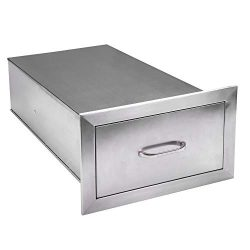Seeutek Outdoor Kitchen Drawer 304 Stainless Steel 14″ W x 8.5″ H Single Layer Acces ...
