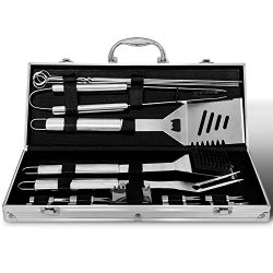 Albessel BBQ Grill Tool Set, 18 Pieces Stainless Steel Professional Barbecue Utensils Heavy Duty ...