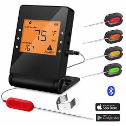 Barbecue Meat Probe Wireless Bluetooth Cooking Thermometer with 4 Probes for Indoor and Outdoor  ...