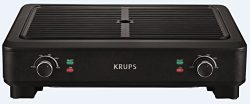 KRUPS PG760851 Electric Indoor Adjustable Temperature Smokeless Grill w/Non-Stick Cooking Surfac ...