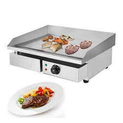 1500W Electric Countertop Griddle Grill 22″ Stainless Steel Food Tabletop Grill Adjustable ...