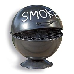 Whole House Worlds The Smoke Ashtray, Lidded Dome with Pedestal Base, BBQ Grill Party Style, Bla ...