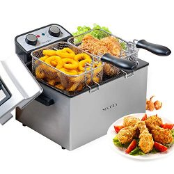 Secura 1800W Large Stainless Steel Electric Deep Fryer with Triple Basket and Timer MSAF40DH, 4. ...