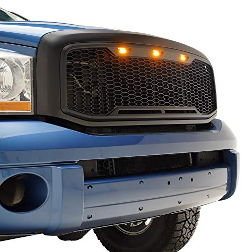 Tidal Raptor Style Upper Replacement Grille w/LED Amber Lighting for 06-08 Dodge Ram 1500/06-09  ...