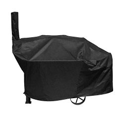 SunPatio Outdoor Charcoal Grill Offset Smoker Cover, Heavy Duty Waterproof Barrel Smoker Cover,  ...