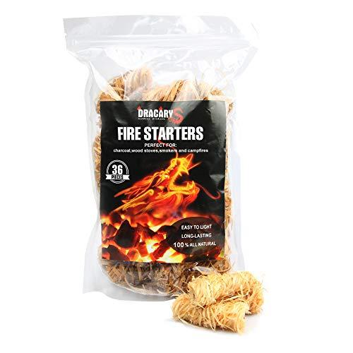 36 Pcs Charcoal Fire Starter All Weather BBQ Camping Fire Starter Waterproof,Super Fast Lighting ...