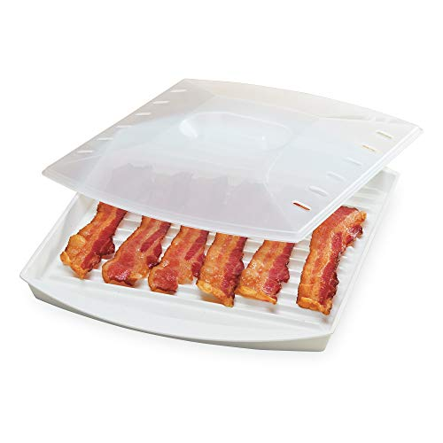 Prep Solutions by Progressive Microwave Large Bacon Grill with Vented Cover, 4-6 Strips of Bacon ...