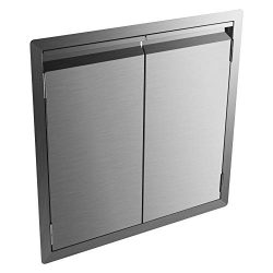 DaTOOL Stainless Steel BBQ Door,304 Brushed BBQ Access Door Cutout 24WX24H, Double BBQ Island Do ...