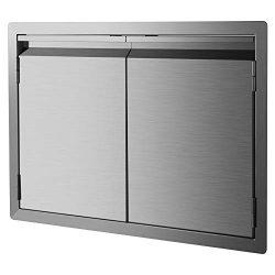 DaTOOL Stainless Steel BBQ Door,304 Brushed BBQ Access Door Cutout 31WX24H, Double BBQ Island Do ...