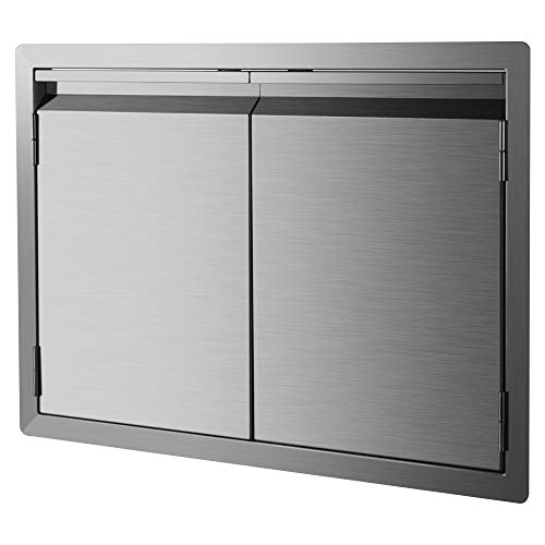 DaTOOL Stainless Steel BBQ Door,304 Brushed BBQ Access Door Cutout 31WX24H, Double BBQ Island Do ...