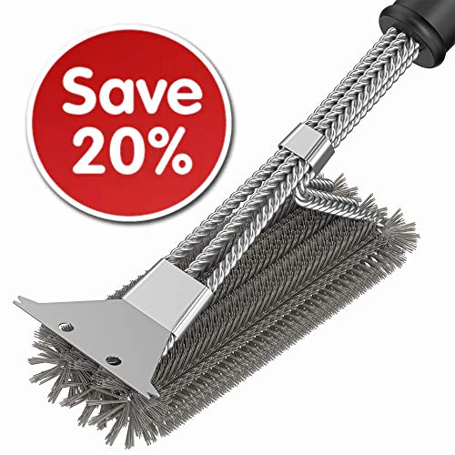 Grill Cleaner Brush – BBQ Brush – BBQ Grill Grate Cleaner Brush and Scraper –  ...
