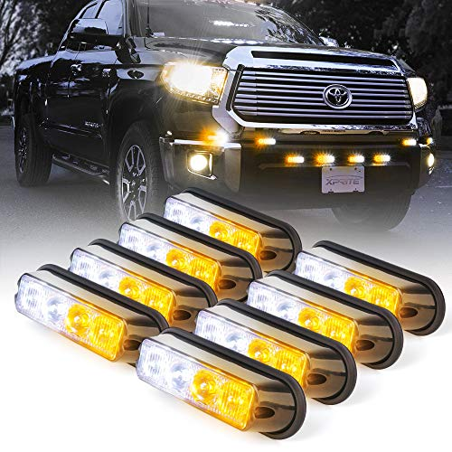 Xprite White & Amber Yellow 4 LED 4 Watt Emergency Vehicle Waterproof Surface Mount Deck Das ...