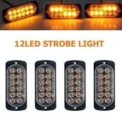 Emergency Strobe Lights for Trucks, Maso Amber Recovery Car 12 LEDs Lighting Bar Orange Grill Br ...