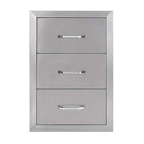 Seeutek Outdoor Kitchen Drawer 304 Stainless Steel 14″ W x 20.25″ H Triple Layer Acc ...