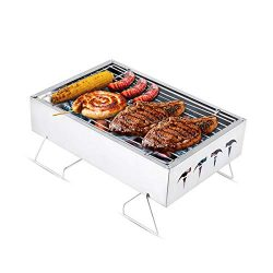 Luxuglow Barbecue Charcoal Grill Stainless Steel Folding Portable Tabletop Charcoal Grill BBQ To ...