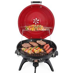 Techwood Indoor/Outdoor Electric BBQ Grill-Adjustable Temperature Control-18inch Round Portable  ...