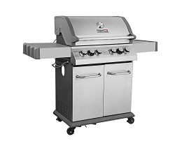 Royal Gourmet Infrade 550 4-Burner Cabinet Propane Gas Grill, BBQ Outdoor Grill with Side Burner ...