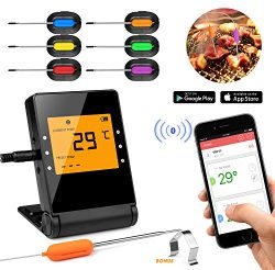 Shinmax BBQ Meat Thermometer for Grilling,APP Controlled Smart Cooking Bluetooth Thermometer for ...